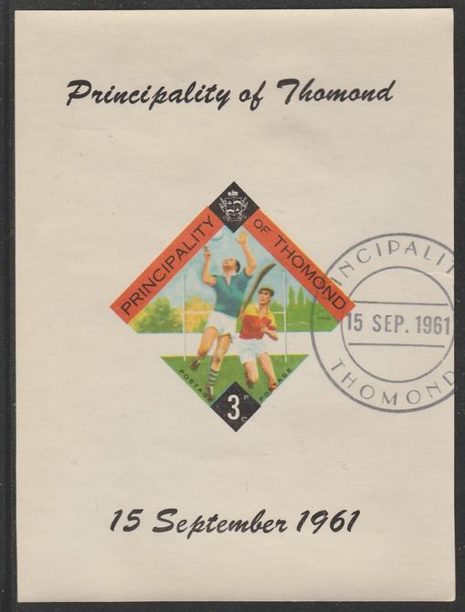 Thomond 1961 Hurling 3d (Diamond-shaped) imperf m/sheet fine used with cds cancel for first day of issue