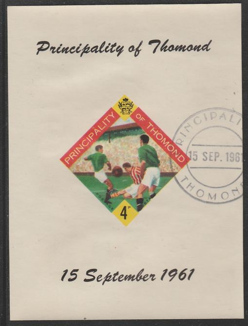 Thomond 1961 Football 4d (Diamond-shaped) imperf m/sheet fine used with cds cancel for first day of issue
