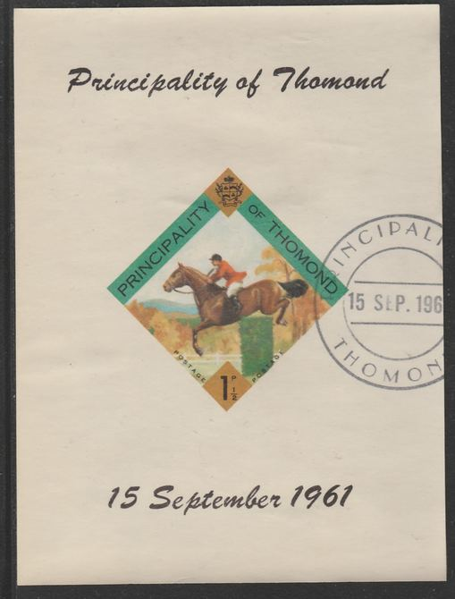 Thomond 1961 Show jumping 1.5d (Diamond-shaped) imperf m/sheet fine used with cds cancel for first day of issue