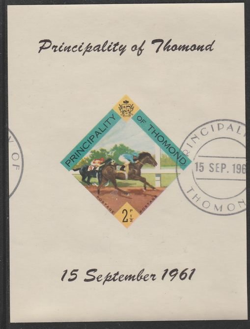 Thomond 1961 Horse Racing 2.5d (Diamond-shaped) imperf m/sheet fine used with cds cancel for first day of issue