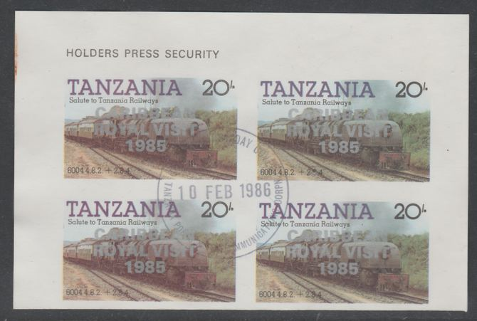 Tanzania 1985 Locomotives 20s imperf block of 4 each with 'Caribbean Royal Visit 1985' opt in silver with central cds cancel for first day of issue