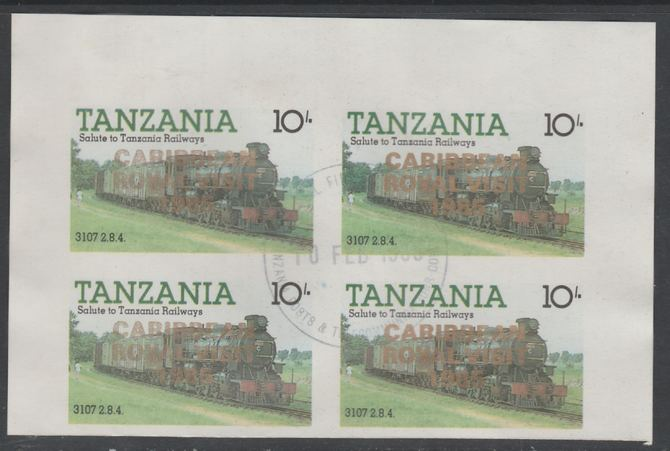 Tanzania 1985 Locomotives 10s imperf block of 4 each with 'Caribbean Royal Visit 1985' opt in gold with central cds cancel for first day of issue