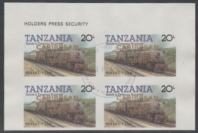 Tanzania 1985 Locomotives 20s imperf block of 4 each with 'Caribbean Royal Visit 1985' opt in gold with central cds cancel for first day of issue