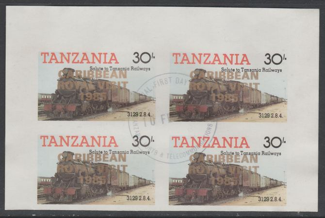 Tanzania 1985 Locomotives 30s imperf block of 4 each with 'Caribbean Royal Visit 1985' opt in gold with central cds cancel for first day of issue