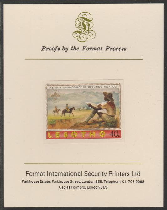 Lesotho 1982 75th Anniversary of Scouting- 40s Scout Sketching  imperf mounted on Format International Proof Card, as SG476