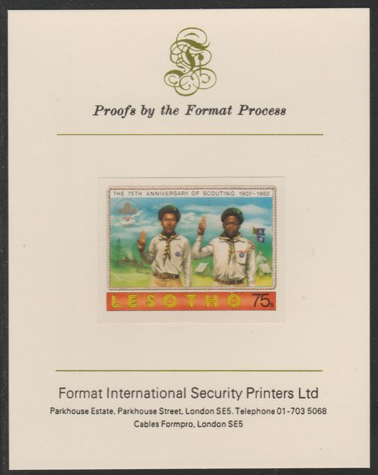 Lesotho 1982 75th Anniversary of Scouting- 75s Scouts Saluting  imperf mounted on Format International Proof Card, as SG478, stamps on scouts