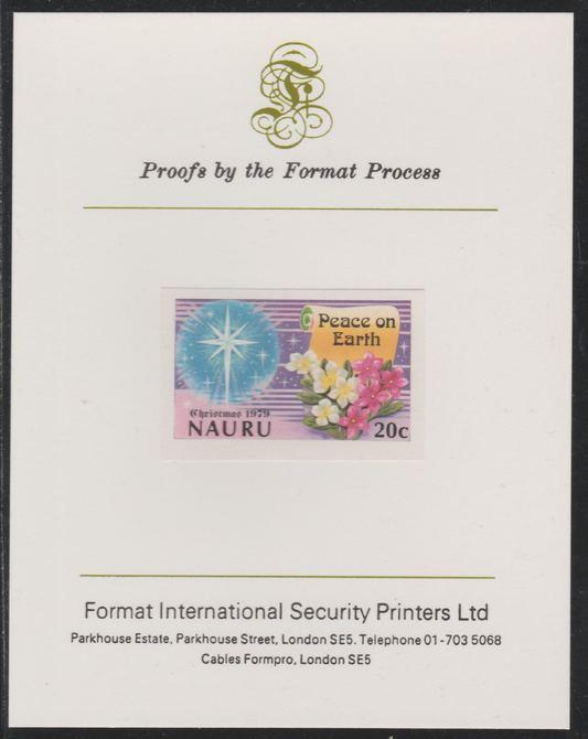 Nauru 1979 Christmas 20c Peace on Earth  imperf mounted on Format International Proof Card, as SG218