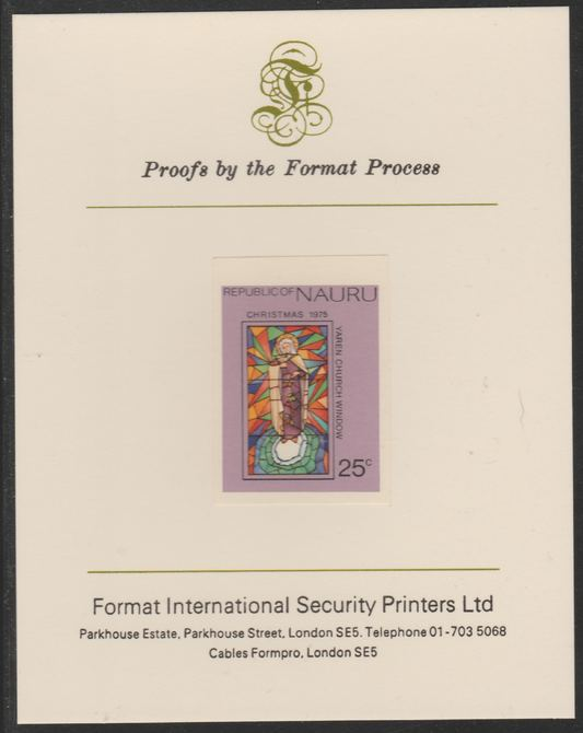 Nauru 1975 Christmas - Stained Glass Window  25c imperf mounted on Format International Proof Card, as SG142