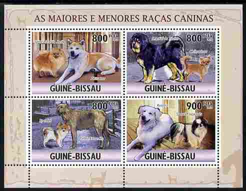 Guinea - Bissau 2010 Largest & Smallest Dogs perf sheetlet containing 4 values unmounted mint
