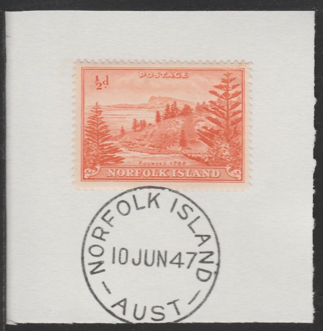 Norfolk Island 1947 Ball Bay 1/2d (SG 1) on piece with full strike of Madame Joseph forged postmark type 306
