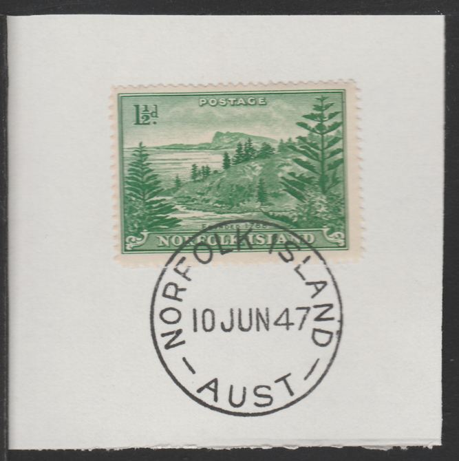 Norfolk Island 1947 Ball Bay 1.5d (SG 3) on piece with full strike of Madame Joseph forged postmark type 306