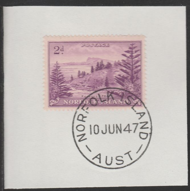 Norfolk Island 1947 Ball Bay 2d (SG 4) on piece with full strike of Madame Joseph forged postmark type 306