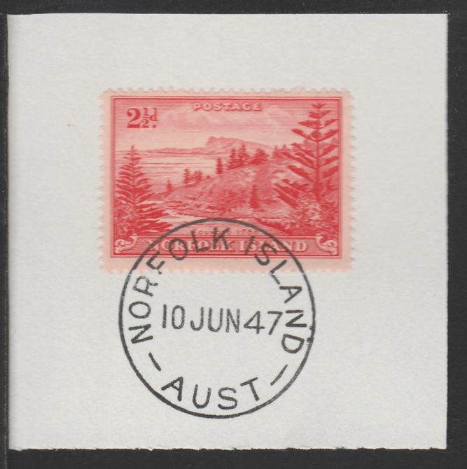 Norfolk Island 1947 Ball Bay 2.5d (SG 5) on piece with full strike of Madame Joseph forged postmark type 306