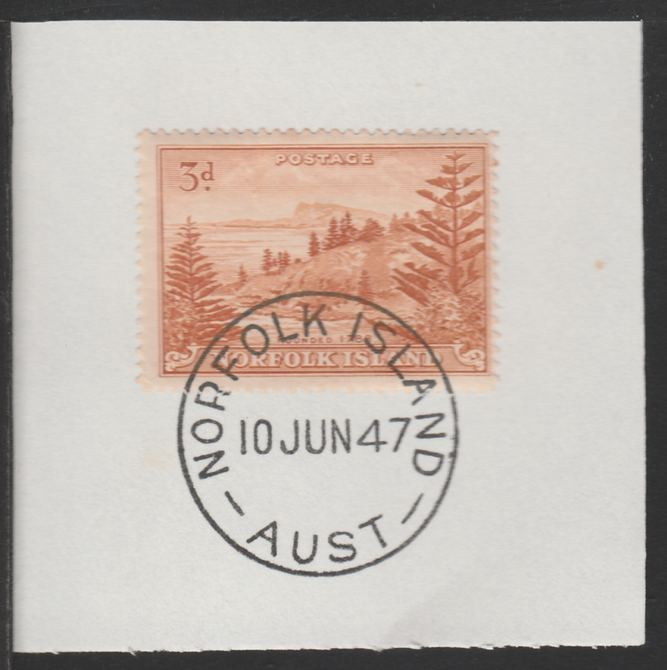 Norfolk Island 1947 Ball Bay 3d (SG 6) on piece with full strike of Madame Joseph forged postmark type 306