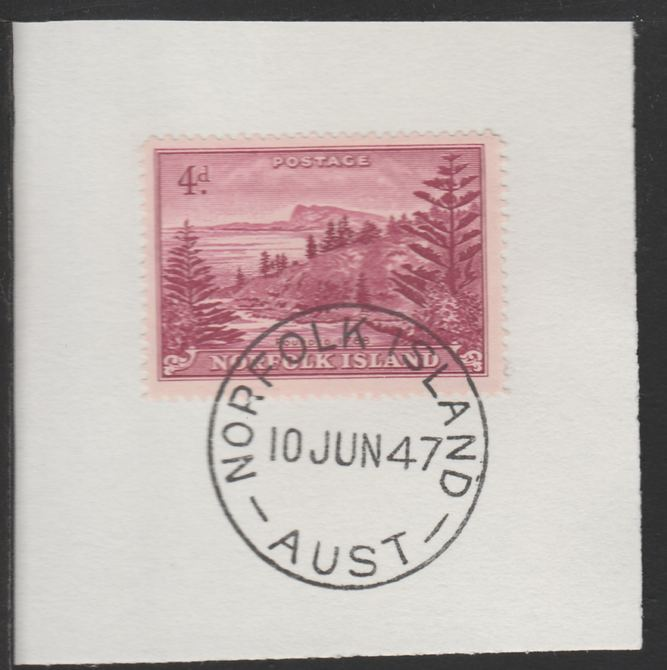 Norfolk Island 1947 Ball Bay 4d (SG 7) on piece with full strike of Madame Joseph forged postmark type 306