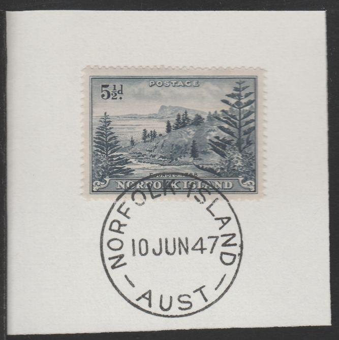 Norfolk Island 1947 Ball Bay 5.5d (SG 8) on piece with full strike of Madame Joseph forged postmark type 306