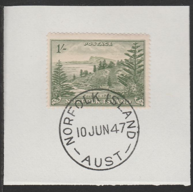 Norfolk Island 1947 Ball Bay 1s (SG 11) on piece with full strike of Madame Joseph forged postmark type 306
