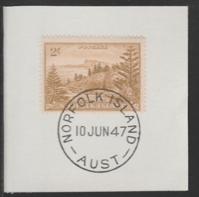 Norfolk Island 1947 Ball Bay 2s (SG 12) on piece with full strike of Madame Joseph forged postmark type 306