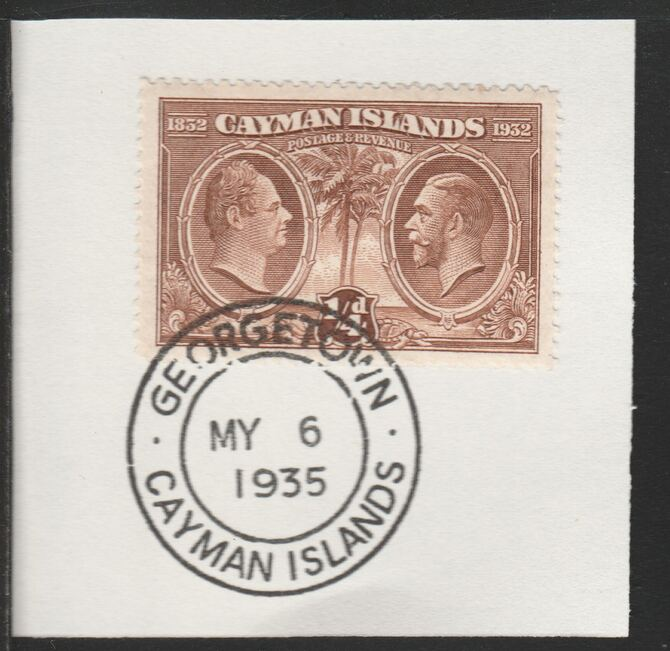 Cayman Islands 1932 Centenary 1/4d brown (SG84) on piece with full strike of Madame Joseph forged postmark type 114