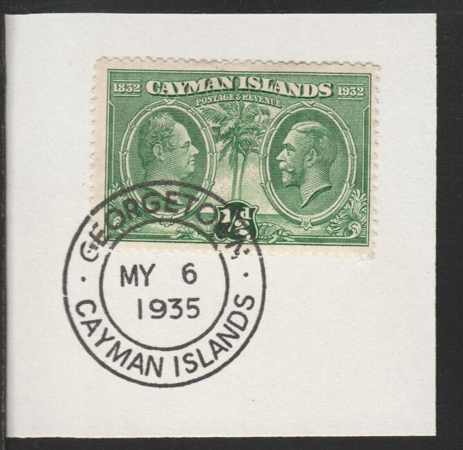 Cayman Islands 1932 Centenary 1/2d green (SG85) on piece with full strike of Madame Joseph forged postmark type 114