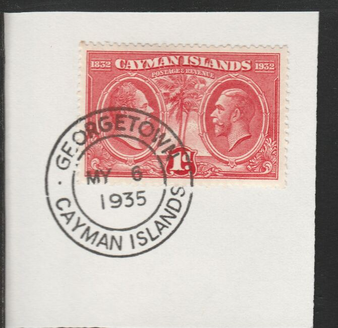Cayman Islands 1932 Centenary 1d scarlet (SG86) on piece with full strike of Madame Joseph forged postmark type 114