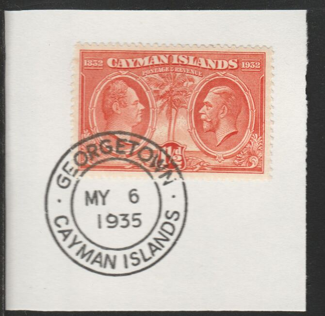 Cayman Islands 1932 Centenary 1.5d red-orange (SG87) on piece with full strike of Madame Joseph forged postmark type 114