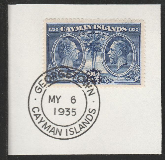 Cayman Islands 1932 Centenary 2.5d ultramarine (SG89) on piece with full strike of Madame Joseph forged postmark type 114