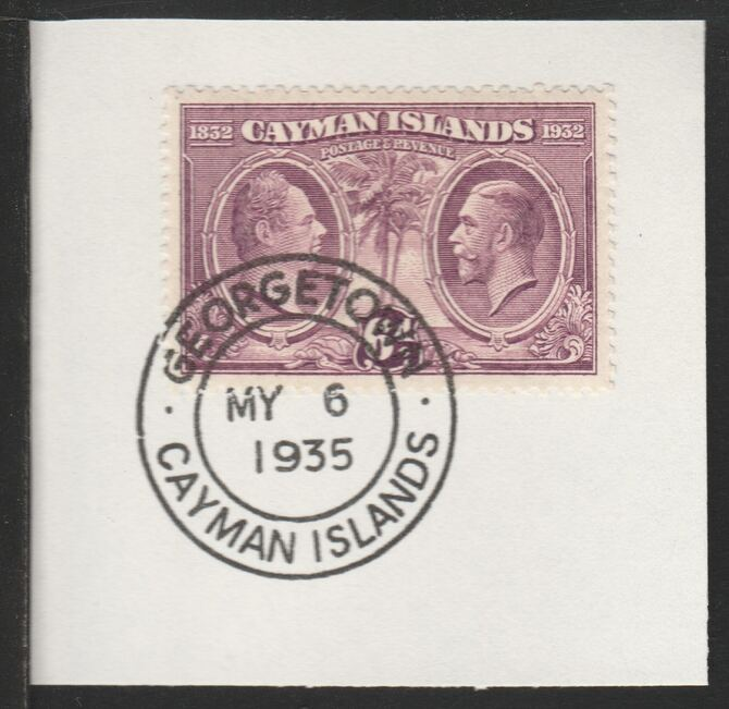 Cayman Islands 1932 Centenary 6d purple (SG91) on piece with full strike of Madame Joseph forged postmark type 114