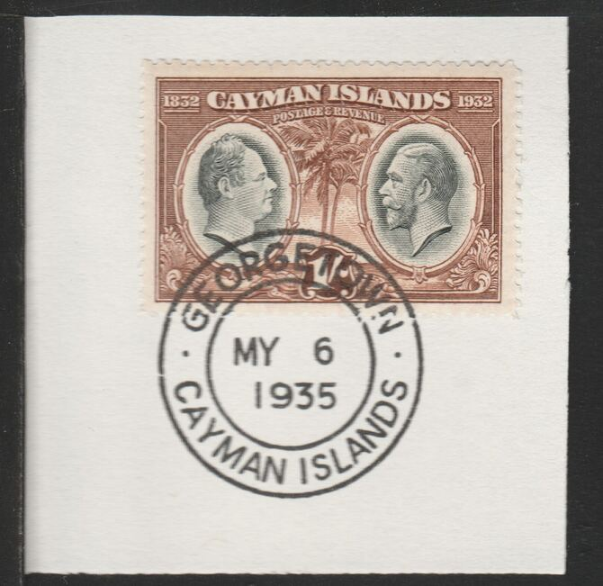 Cayman Islands 1932 Centenary 1s black & brown (SG92) on piece with full strike of Madame Joseph forged postmark type 114