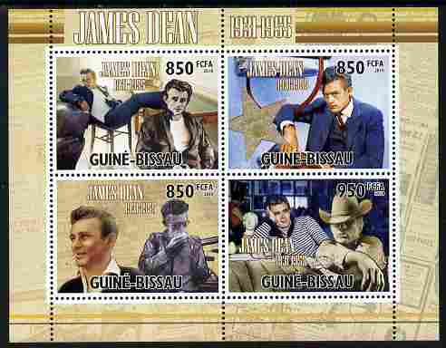 Guinea - Bissau 2010 James Dean perf sheetlet containing 4 values unmounted mint , stamps on personalities, stamps on films, stamps on cinema, stamps on movies