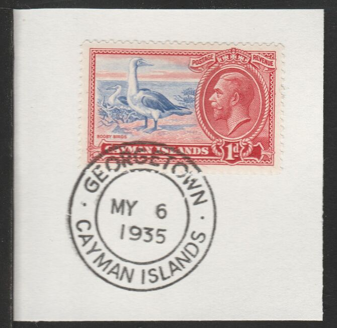Cayman Islands 1935 KG5 Pictorial 1d Red-Footed Booby (SG98) on piece with full strike of Madame Joseph forged postmark type 114