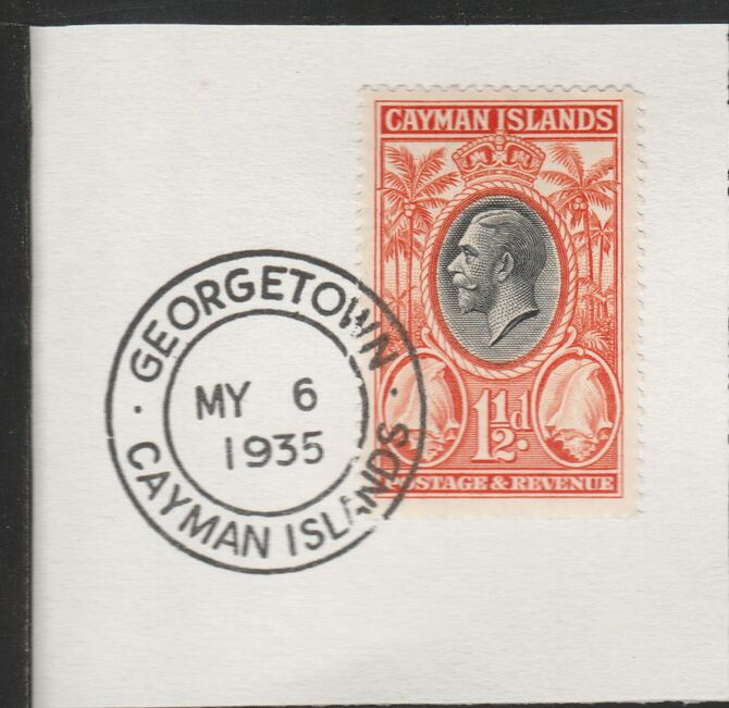 Cayman Islands 1935 KG5 Pictorial 1.5d Conch Shell (SG99) on piece with full strike of Madame Joseph forged postmark type 114