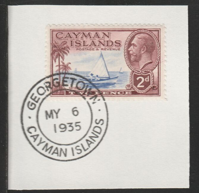 Cayman Islands 1935 KG5 Pictorial 2d Cat Boat (SG100) on piece with full strike of Madame Joseph forged postmark type 114