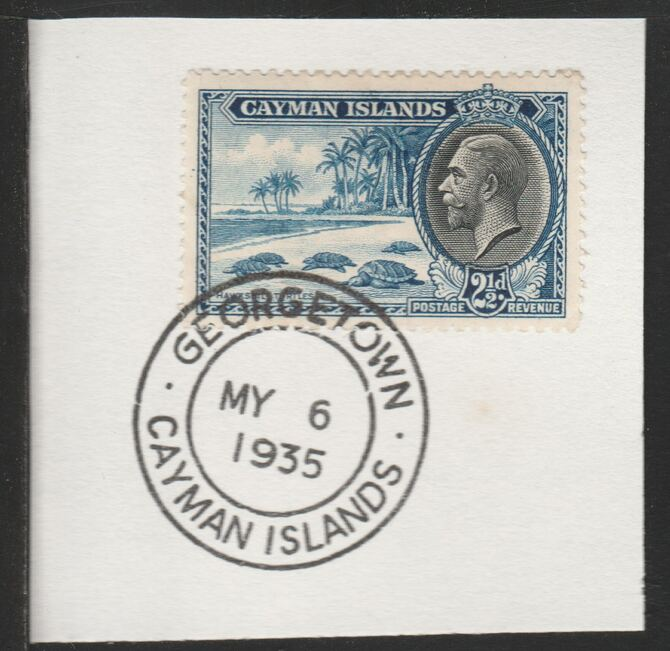 Cayman Islands 1935 KG5 Pictorial 2.5d Hawksbill Turtles (SG101) on piece with full strike of Madame Joseph forged postmark type 114