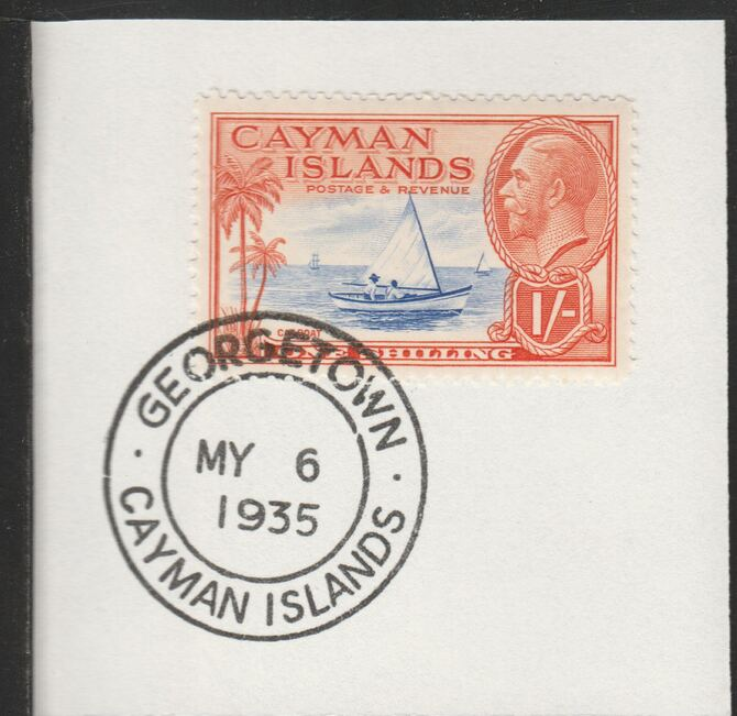 Cayman Islands 1935 KG5 Pictorial 1s Cat Boat (SG104) on piece with full strike of Madame Joseph forged postmark type 114