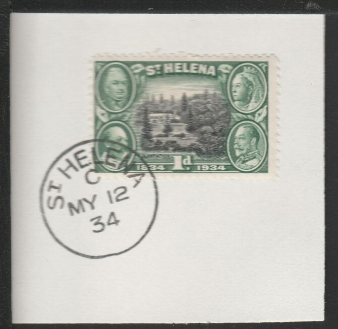 St Helena 1934 Centenary 1d (SG115) on piece with full strike of Madame Joseph forged postmark type 340