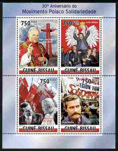 Guinea - Bissau 2010  30th Anniversary of Polish Solidarity Movement - Pope & Lech Walesa perf sheetlet containing 4 values unmounted mint