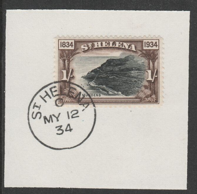 St Helena 1934 Centenary 1s (SG120) on piece with full strike of Madame Joseph forged postmark type 340