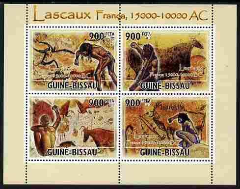 Guinea - Bissau 2010 Lascaux Cave Paintings perf sheetlet containing 4 values unmounted mint