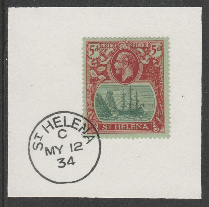 St Helena 1922-37 KG5 Badge Issue 5d (SG103) on piece with full strike of Madame Joseph forged postmark type 340