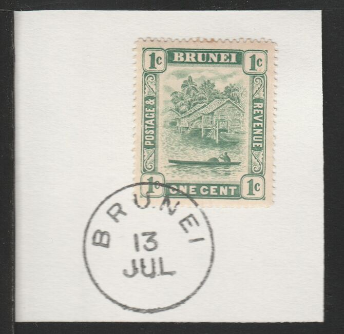 Brunei 1908 River Scene 1c green (SG34/5) on piece with full strike of Madame Joseph forged postmark type 104