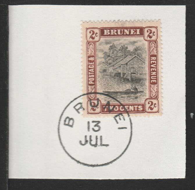 Brunei 1908 River Scene 2c black & brown (SG36) on piece with full strike of Madame Joseph forged postmark type 104