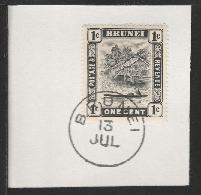 Brunei 1924 River Scene 1c black (SG60) on piece with full strike of Madame Joseph forged postmark type 104