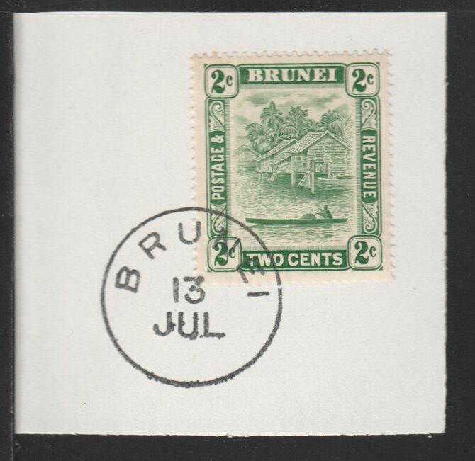 Brunei 1924 River Scene 2c green (SG62) on piece with full strike of Madame Joseph forged postmark type 104