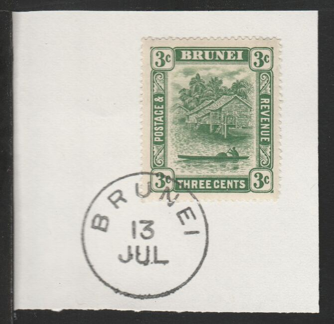 Brunei 1924 River Scene 3c green (SG63) on piece with full strike of Madame Joseph forged postmark type 104