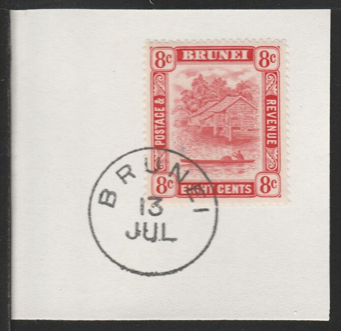 Brunei 1947 River Scene 8c scarlet (SG84) on piece with full strike of Madame Joseph forged postmark type 104