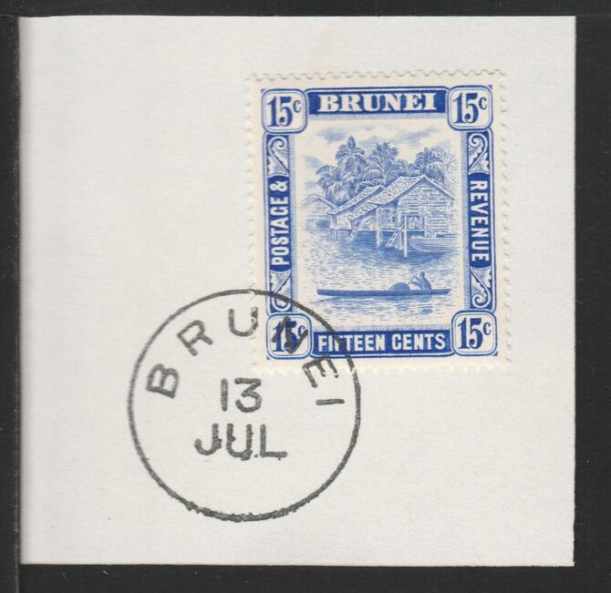 Brunei 1947 River Scene 15c ultramarine (SG86) on piece with full strike of Madame Joseph forged postmark type 104