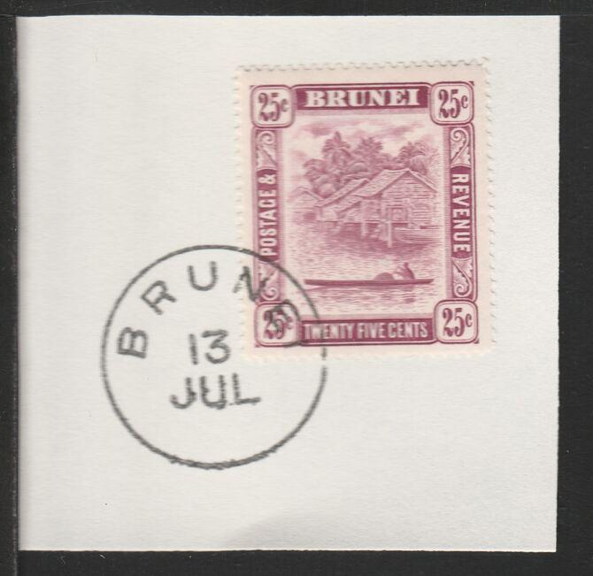 Brunei 1947 River Scene 25c claret (SG87) on piece with full strike of Madame Joseph forged postmark type 104
