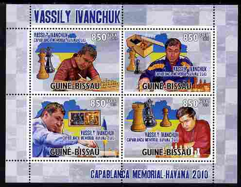 Guinea - Bissau 2010 Chess - Vassily Ivanchuk perf sheetlet containing 4 values unmounted mint