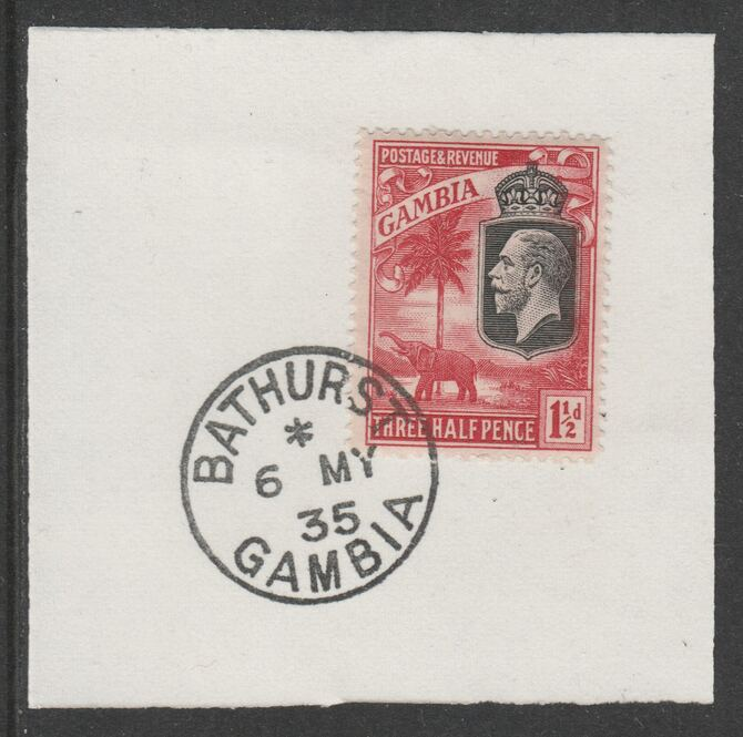 Gambia 1922-29 KG5 Elephant & Palms 1.5d (SG125) on piece with full strike of Madame Joseph forged postmark type 172